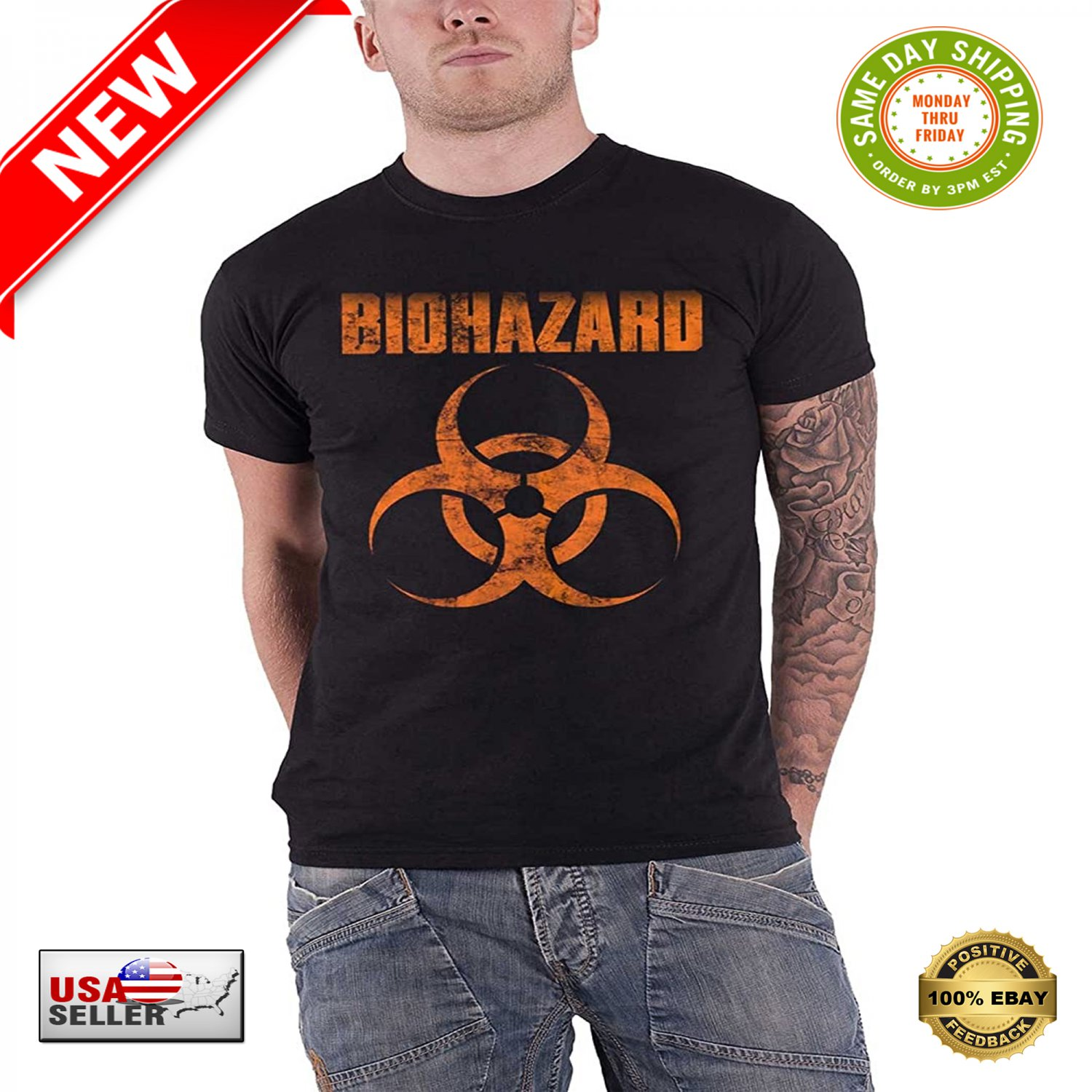 � Biohazard T Shirt Band Logo Urban Discipline Official Mens Black XL Extra Large �