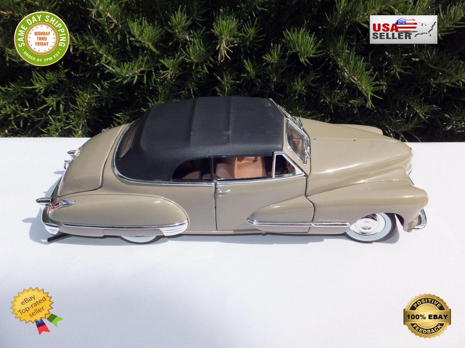 � Vintage Anson Classics 1947 Cadillac Series 62 Die-cast Metal. 1:18 Scale Gray �