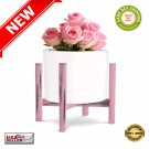 """★ Mid Century Modern/Rustic Wood Indoor Plant Pot Holder Stand 12"""" - PINK - NEW ★"""
