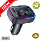 ★ Bluetooth 5.0 Transmitter Radio for Car 36W/6A PD & QC3.0 7-Colors LED Backlit ★