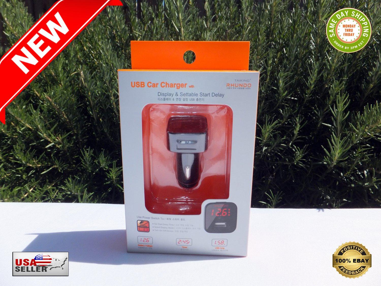 � RHUNDO RV-11 USB Cigarette Lighter Car Charger LED Display Settable Start Delay �