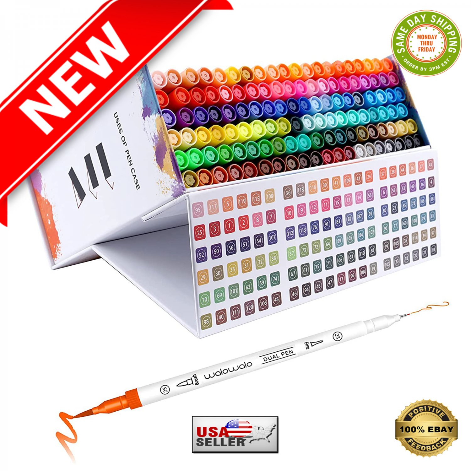 � 120 Color Brush Pen With Color Number Dual Tip Watercolor Markers Set With Case �
