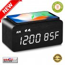★ Digital Wooden LED Alarm Clock with Phone Wireless Charging Dual Alarm - NEW ★