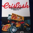 World of Outlaws Cris Eash, Sprint Car Racing Driver Card, 1987, SIGNED