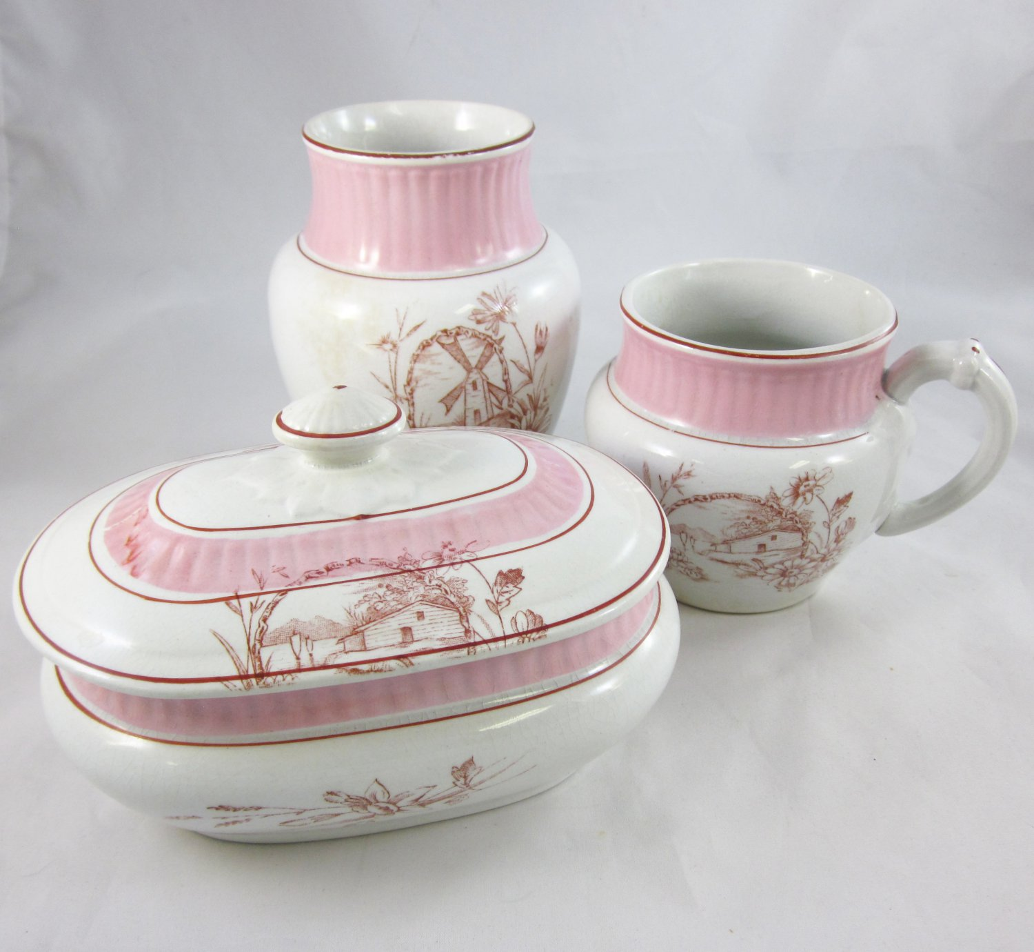 Pink Ironstone Transferware Toiletry Set - Antique