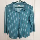 Christopher & Banks Turquoise Blue Button Down Blouse