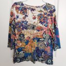 Christopher & Banks Colorful Graphic Knit Top 3/4 Sleeves