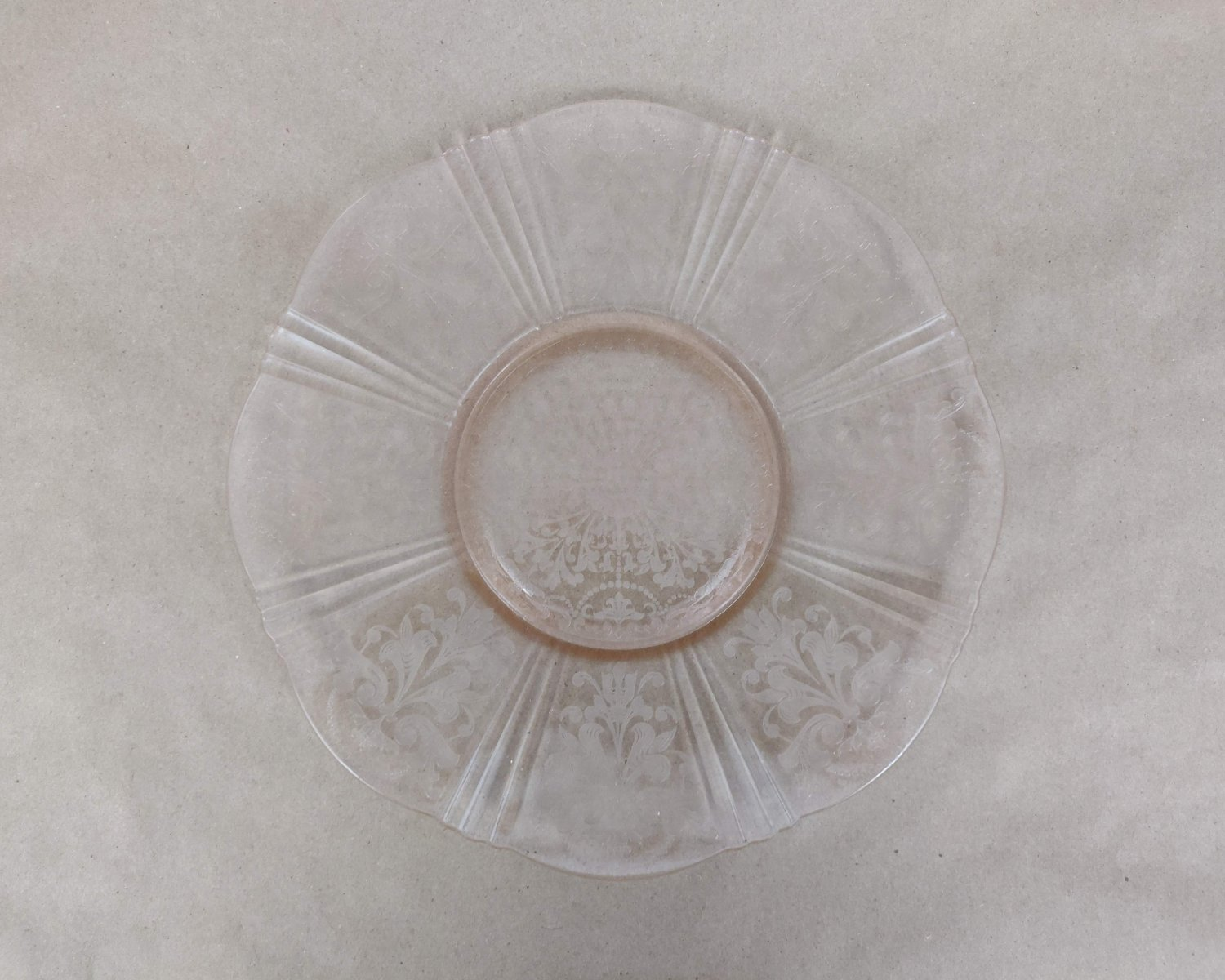 Pink Depression Glass, American Sweetheart Salver Plate, Cake Plate
