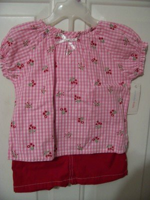 Girls Red and Pink skort outfit set Size 24 months