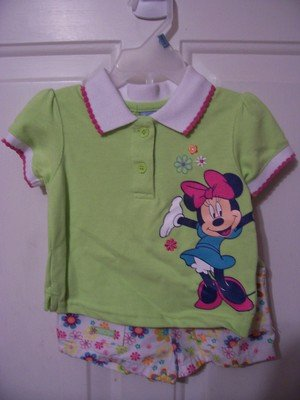 Girls Disney Baby Short Outfit Minnie Mouse Size 12 months