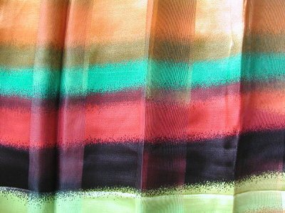 Stunning Striped Scarf, 13 X 60, Black, Red, Orange, Green, Blue