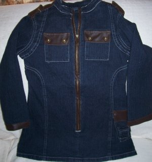 Girls Denim and Leather Dress, New, Size 4/5