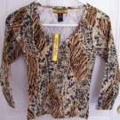 FREE SHIPPING!! Juniors Safari Animal Print Shirt Size Medium