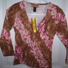 FREE SHIPPING!! Pink Safari Animal and Flower Print Shirt Juniors Size Large