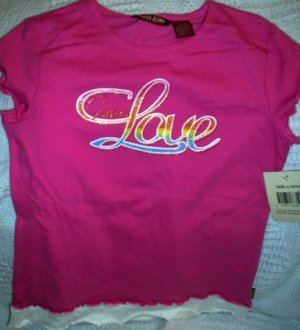 FREE SHIPPING!!  Jeans Guess Love Tshirt, Pink,  Size Large
