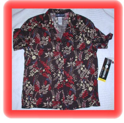 FREE SHIPPING!! Women's Sag Harbor Button Down Brown Print Shirt Size Small
