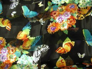 Pretty Butterfly and Flower Scarf