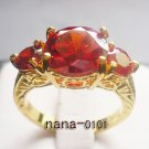 Jewelry Lady's Ruby 3.38CT 14K Yellow GP Gold Diamond Ring Size#8