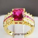 Jewelry Lady's Ruby 3.78CT 14K Yellow GP Gold Diamond Ring Size#8
