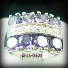 Jewelry Lady's Amethyst 3.98CT 14K White GP Gold Diamond Ring Size#8