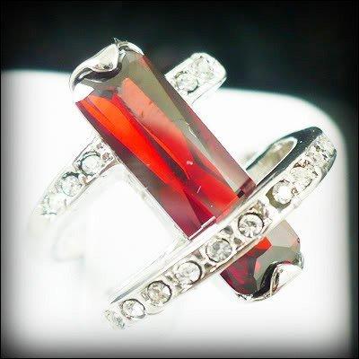 Jewelry Lady's Ruby 3.26CT 14K White GP Gold Diamond Ring Size#8