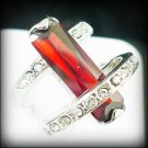 Jewelry Lady's Ruby 3.26CT 14K White GP Gold Diamond Ring Size#8
