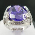 Jewelry Lady's Amethyst 6.38CT 14K White GP Gold Diamond Ring Size#8