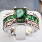 Jewelry Lady's Emerald 3.69CT 14K White GP Gold Diamond Ring Size#8