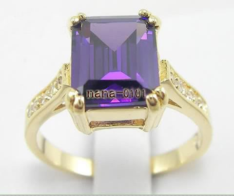 Jewelry Lady's Amethyst 3.52CT 14K Yellow GP Gold Diamond Ring Size#8