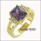 Jewelry Lady's Amethyst 3.48CT 14K Yellow GP Gold Diamond Ring Size#8