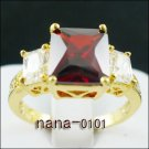 Jewelry Lady's Ruby 3.43CT 14K Yellow GP Gold Diamond Ring Size#8