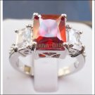 Jewelry Lady's Ruby 3.43CT 14K White GP Gold Diamond Ring Size#8