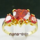 Jewelry Lady's Ruby 3.24CT 14K Yellow GP Gold Diamond Ring Size#8
