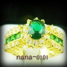 Jewelry Lady's Emerald 3.58CT 14K Yellow GP Gold Diamond Ring Size#8