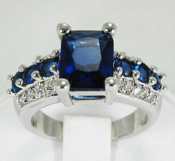 Jewelry Lady's Amethyst 3.68CT 14K White GP Gold Diamond Ring Size#8