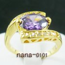 Jewelry Lady's Amethyst 3.28CT 14K Yellow GP Gold Diamond Ring Size#8