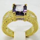 Jewelry Lady's Amethyst 3.08CT 14K Yellow GP Gold Diamond Ring Size#8