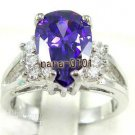 Jewelry Lady's Amethyst 3.18CT 14K White GP Gold Diamond Ring Size#8