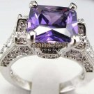 Jewelry Lady's Amethyst 3.68CT 14K White GP Gold Diamond Ring Size#8