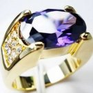 Jewelry Lady's Amethyst 3.58CT 14K Yellow GP Gold Diamond Ring Size#8