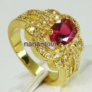 Jewelry Lady's Ruby 2.05CT 14K Yellow GP Gold Ring Size#8