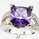 Jewelry Lady's Amethyst 3.98CT 14K White GP Gold Ring Size#8