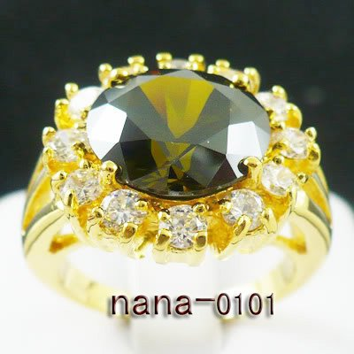 Jewelry Lady's Emerald 5.88CT 14K Yellow GP Gold Ring Size#8