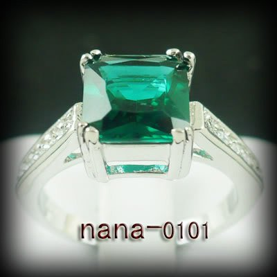 Jewelry Lady's Emerald 3.36CT 14K White GP Gold Ring Size#8