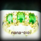 Jewelry Lady's Emerald 3.08CT 14K Yellow GP Gold Ring Size#8