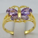 Jewelry Lady's Amethyst 2.48CT 14K Yellow GP Gold Diamond RingSize#8