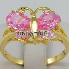 Jewelry Lady's Pink 2.48CT 14K Yellow GP Gold Diamond Ring Size#8