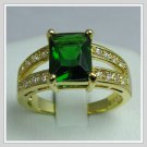 Jewelry Lady's Emerald 3.08CT 14K Yellow GP Gold Diamond Ring Size#8