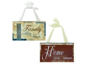 Wood Sign with Fabric Hanger