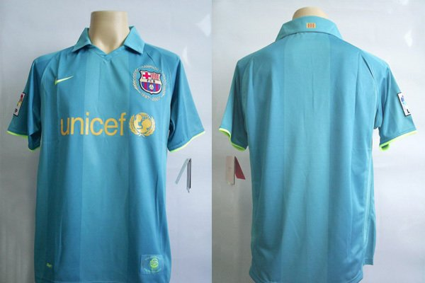 NEW 0709 BARCELONA AWAY SOCCER SHIRT +ANY NAME& NUMBER